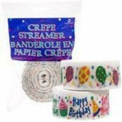 """Pack of 2: Crepe Paper Streamer, Each Roll 90 Feet Long, 1 7/8"""" Wide, HAPPY BDay"""