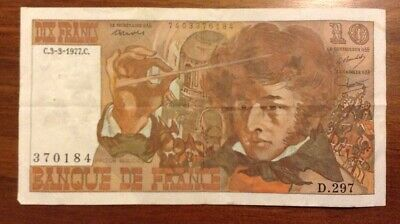 France Banknote. 10 Francs. Dated 1977. Dix Francs. French.