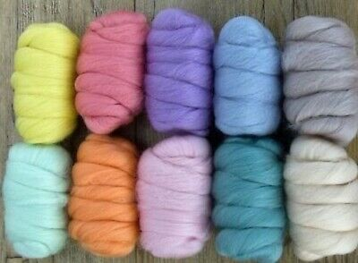 10 Color Assortment 100% Merino Wool/Combed Top/Roving 250 grams - Soft Pastels