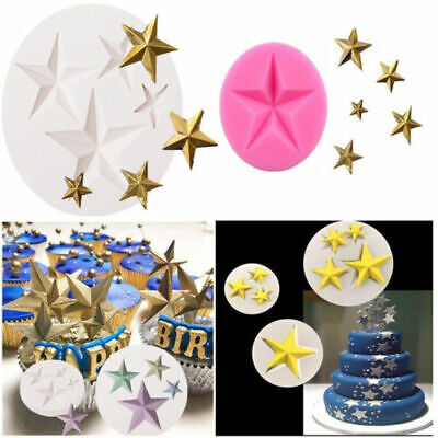 Silicone Fondant Mold 3D Star Chocolate Cookie Baking Mould Cake Decor Tools New
