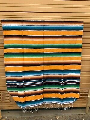 Serape XXL,5' X 7',Mexican Blanket,HOT ROD, Seat Covers,Motorcycle,  YELLOW