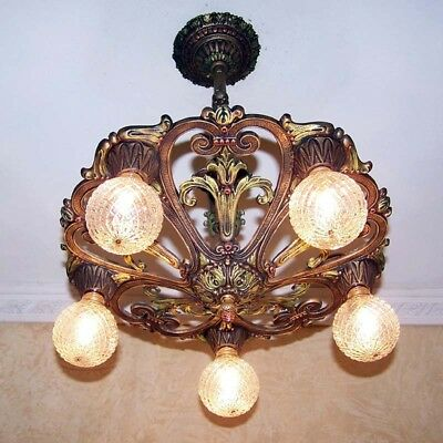 666 Vintage antique Ceiling Light lamp fixture art nouveau polychrome chandelier