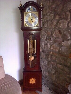 Grandmother Long case Clock, genuine Richard Broad, Mahogany case, Moon dial