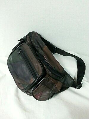Vtg 80s LR Fanny Pack Waist Bag Multi-Color & Pockets Patch Leather Work Unisex