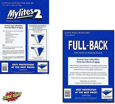 50 Mylites2 SILVER/GOLD Mylars Bags & Full Back 42pt Boards 775M2/750FB E.Gerber