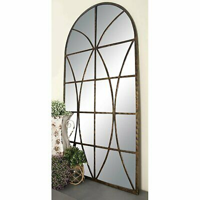 Large Metal Wood Window Pane Arched Mirror Window Antique Vintage Decor Art Home