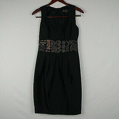 fcea3b45 NICOLE MILLER Womens 100% SILK Beaded Embroidered Formal Sheath Dress Sz 2  Black