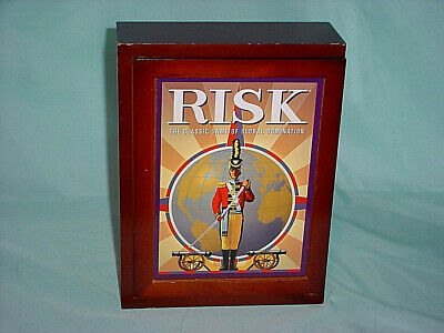 Risk Vintage Game Collection Library BookShelf Edition Wood Box Complete Perfect