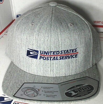 26eae50c0 Usps Postal Flexfit Heather Wool Blend Flat Bill Snapback Hat With Postal  Logo