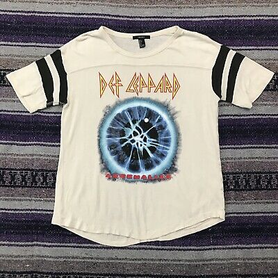 2a3122377 Def Leppard Shirt Womens Large Forever 21 Adrenalize Tour Band Tee Soft Thin