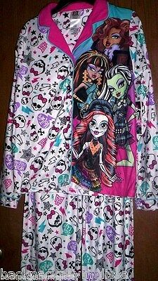 MONSTER High Fleece Pajamas Girls 7/8 NeW Button Down Shirt Pants Winter Pjs NWT