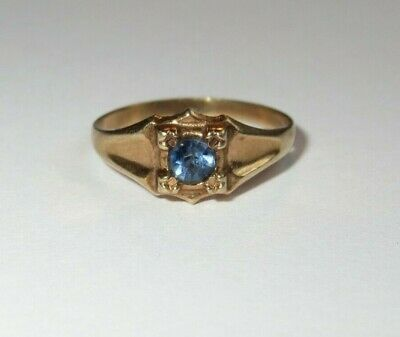 Antique Victorian Vintage Childs 10k Yellow Gold Blue Stone Ring Size 3