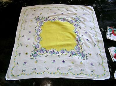 "Vintage 1940's Floral Lavander Yellow Cotton Tablecloth 38"" Square"
