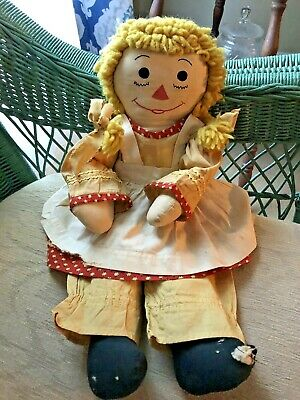 "Rare Antique Raggedy Ann Doll Blonde Hair Red Dress 19"" Early Folk Art Toy"