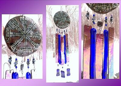 Vegvisir Glass Wind Chime Bronze Blue Ceramic Viking Icelandic Runic Compass