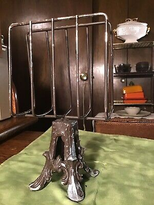 Antique Lead Cast Iron Ornate Base Letter or Napkin Holder Footed Base ART DECO
