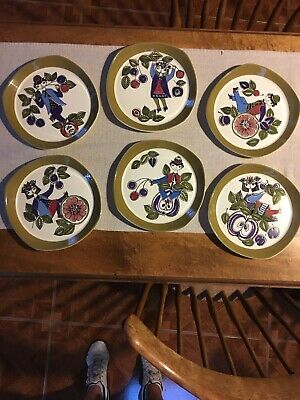 "Complete!! Set Of 6 MCM Figgjo/Flint Turi Design ""Corsica"" Plates From Norway"