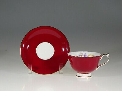 Aynsley Burgundy with Blue Flowers Tea Cup and Saucer, England c. 1950