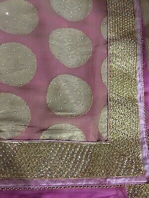Indian Gold And Pink Saree Beaded And Ebroidered