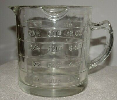 RARE 1940's Anchor Hocking 3 Spout Clear Glass Measuring 1 Cup EXCELLENT!!