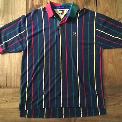 4939c3c7 Vintage Tommy Hilfiger Mens XL Color Block Polo Shirt EUC Free Shipping