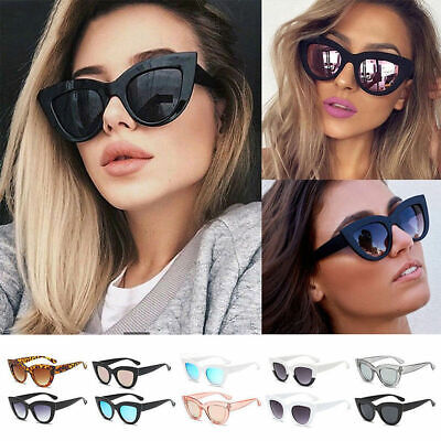 Cat Eye Women Sunglasses Retro Vintage Shades Oversized Designer Large Eyewear