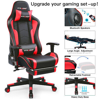Ergonomic High Back Music Gaming Chair Heavy Duty Computer Office Desk Chair Red