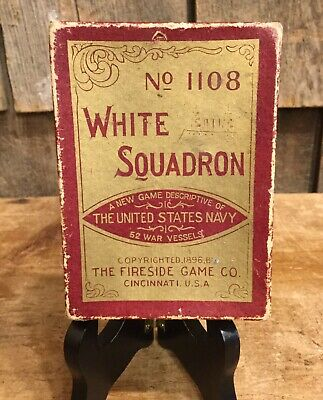 Antique Late 1800's WHITE SQUADRON US NAVY Fireside Games Co. Deck Of Cards Game