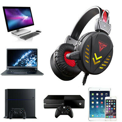Gaming Headphones 3.5mm USB Wired LED Light Stereo Headphone For PC Headset New