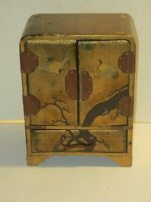 Chinese Lacquerware Storage Chest Box With Gold Paint And Cranes