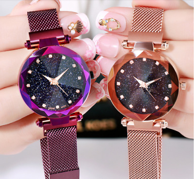 Luxury Women Starry Sky Watch Magnet Strap Free Buckle Stainless Steel Band Gift