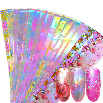 16Pcs Pink Flower Nail Foil  Decor Holographic Starry Nail Art Stickers