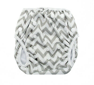 Grey Chevorn Swim Cloth Nappy - Washable Reuseable Adjustable Eco Swimmers Baby