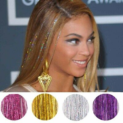 100cm Strands Holographic Sparkle Hair Glitter Tinsel Extensions Dazzles