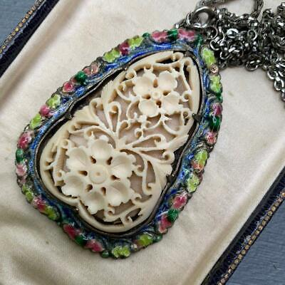 LARGE Vintage Chinese Export Silver Plated Carved Enamel Pendant Necklace