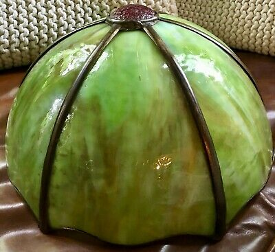 Vintage or Antique Bent Slag Glass 6 Panel Lamp Shade Green NICE