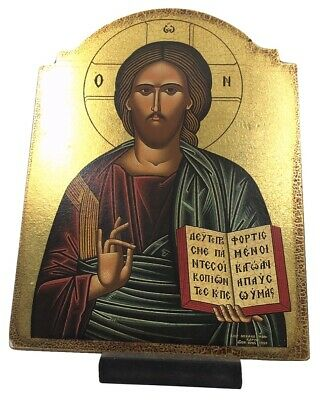 Christ Jesus Blessing Teaching Greek Russian Orthodox Devotional Icon 10.3H