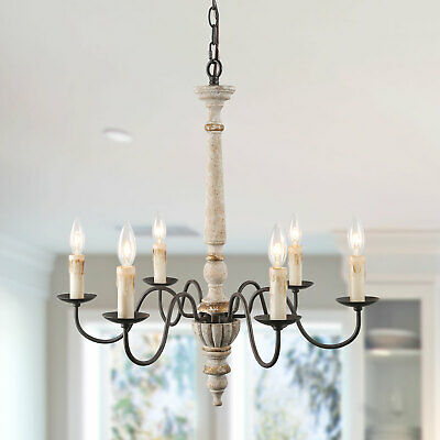 LNC 6 Lights Retro-white Shabby-Chic French Country Chandeliers
