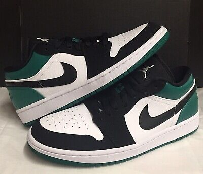 caf587bc5db4c6 Nike Air Jordan Retro 1 Low White Black Mystic Green 553558 113 Men Size