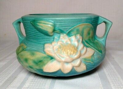 Roseville Pottery, Water Lily, Blue Double Handled Jardiniere, Very Nice Pattern
