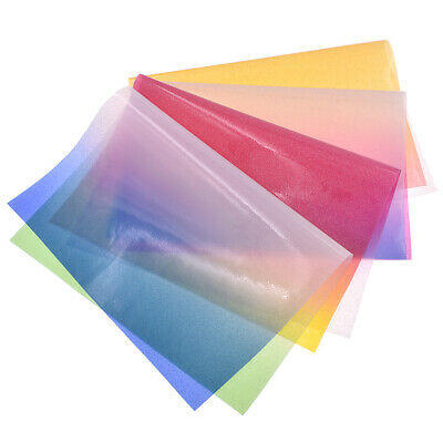 A4 Rainbow Gradient Glitter Fabric Transparent Vinyl Iridescent PVC Clear DIY
