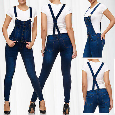 Womens Dungarees Jeans Pants Stretch Skinny Tube Treggings High Waist Suspenders