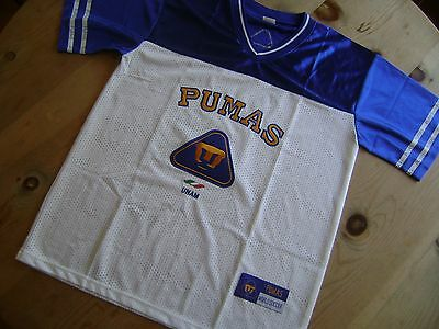 293634c651f PUMAS Jersey UNAM Large Mesh Stitched Patch Blue White Gold World Soccer  Perfect