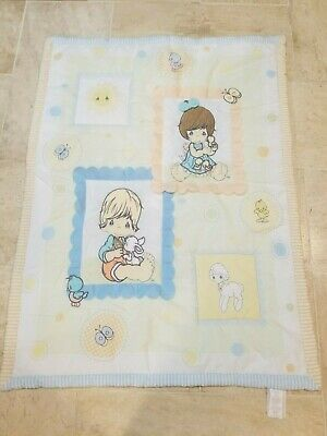 PRECIOUS MOMENTS Baby Nursery Blanket Quilt Squares Pastels LAMB DUCK BUNNY