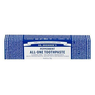 Dr Bronner's Organic All-One Toothpaste -Peppermint 28g Flouride-Free, Whitening