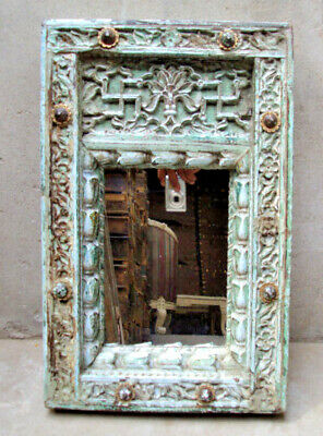 Old Indian Wooden Mirror Frame beautiful hand carved Frame Vanity 003