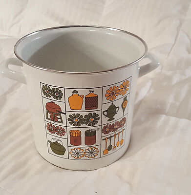 Vintage Retro 70s enamel pot pan handle brown flower salt pepper fondue pasta