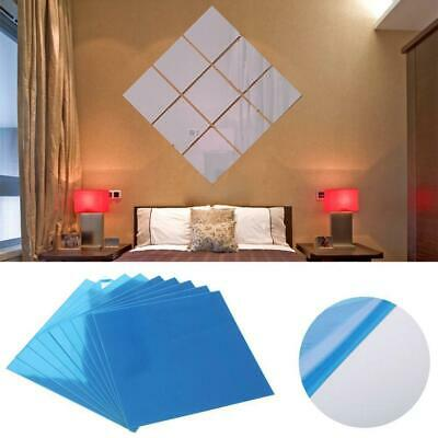 16X Mirror Tile Wall Sticker Square Self Adhesive Room Decor Stick On Modern BE