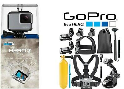 GoPro HERO7 White Waterproof Action Camera Touch Screen With sports Accessories!