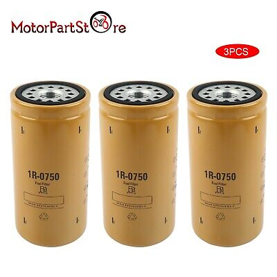 3 PCS FIT CAT 1R-0750 fuel filter sealed Duramax Caterpillar 1R0750 1r 0750